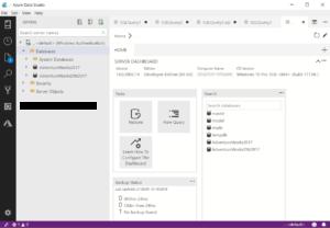 Azure Data Studio dashboard