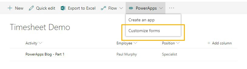 Screenshot of Sharepoint ribbon with PowerApps drop down menu - 'Customise foms'
