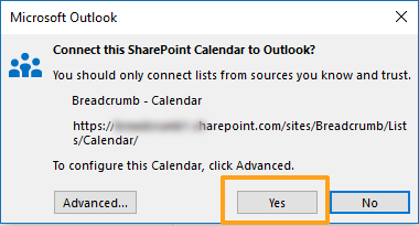 Screenshot of Microsoft Outlook pop-up