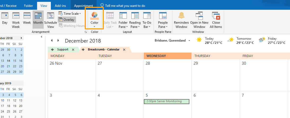 Screenshot of Microsoft Outlook Calendar - View ribbon